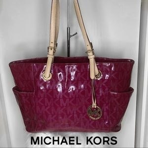 MICHAEL KORS Large Red Leather Tote Bag